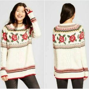 3/$30 Mossimo Rose Fair Isle Oversized Sweater S